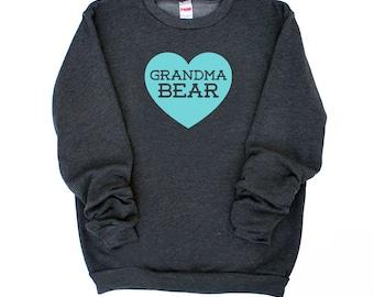 Grandma Bear with Heart Dark Heather Grey Sweatshirt with Aqua Blue Print - New Grandma, Gift for Mom, Announcement, Baby Shower, New Baby