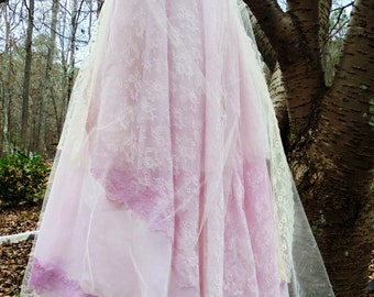 Blush lace dress wedding tulle vintage romantic boho outdoor medium by vintage opulence on Etsy