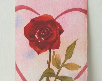 Heart and Rose ACEO Miniature Original, Watercolor Painting, Tiny Art, Heart Art, Romance Art, Care, Heart, Girlfriend Gift, Birthday Gift,