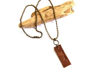 Brown Leather Rectangle on Brass Ball Chain Necklace