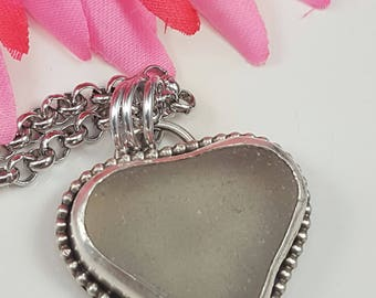 Sea Glass Necklace GREY Heart Shaped Sea Glass Jewelry Sterling Silver Necklace Pendant GREY Beach Glass Bezel Pendant - N-507