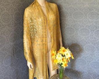 "1920s Gatsby, Boardwalk Empire Unusual Golden Yellow Ochre Assuit Shawl, Large -  82"" x 32"""