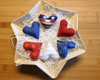 Independence Day Hearts Ornaments Red White and Blue Fourth of July Bowl Filler Patriotic Decorations
