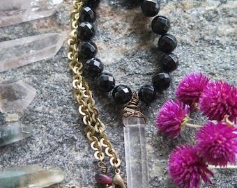 Raw Clear Quartz Crystal Necklace - Black Onyx - Brass Chain - Long Boho Hippie Festival - Good Vibes Layering Jewelry - Medium Length Gypsy
