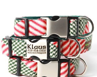 HOLIDAY Personalized Lazer Engraved Buckle Dog Collar - Klaus Flannel Holiday Dog Collar