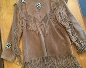 Vintage Suede Jacket owned by Marty Stuart leather fringe coat with beaded accents
