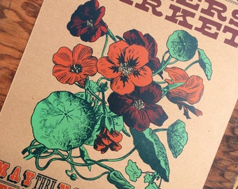 NASTURTIUM poster farmers market Hand Printed Letterpress Poster knoxville tn garden art kitchen decor