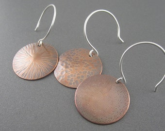 Handmade Assorted Textured Copper, Sterling Silver Dot Earrings