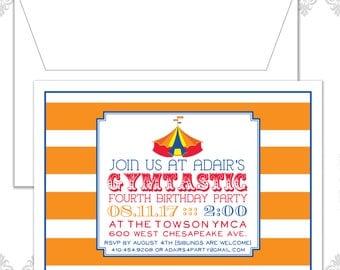 Gymtastic Birthday Party Invitation, Gymnastics birthday Invite, gymnastics birthday, modern fourth birthday invite, stripes, circus theme
