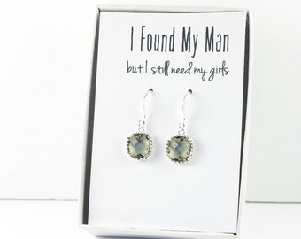 Charcoal Silver Earrings, Charcoal Silver Square Earrings, Gray Silver Earrings, Bridesmaid Earrings, Bridesmaid Gift, Wedding Jewelry
