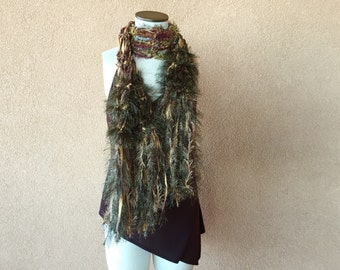 Boho Gypsy Scarf Amber Golden Brown and Green Scarf Gift for Nature Lover Fringe Scarf Accessories