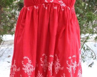 SALE was 15.00 Red and white short mini dress cotton India print small