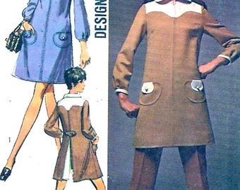 60s mod dress pants vintage sewing pattern Simplicity 8337 Retro hipster style Bust 38 UNCUT