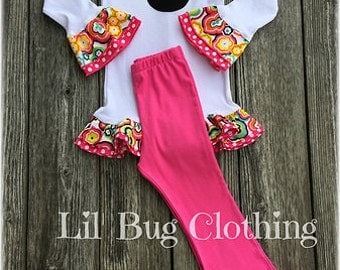 Minnie Mouse Funky Flowers Tee & Pant Outfit, Minnie Mouse Girl Clothes, Minnie Mouse Birthday Party Outfit