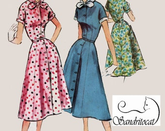 1950s Easy to Sew ShirtDress McCalls 3606 Vintage ROCKABILLY 50s Sewing Pattern Size 16 Bust 34 UNCUT