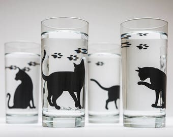 Cat Glassware - Set of 4 Everyday Glasses, Cat Glasses, Drinking Glasses, Cat Lover, Cats, Black Cat, Cat Glass, Black Cats, Cat Paw Prints