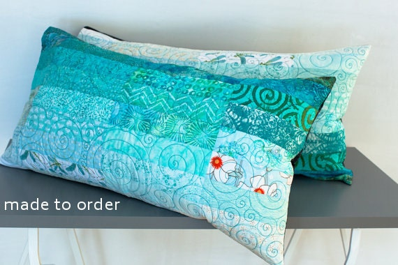 Quilted Pillow Shams King Size Pillow Shams Turquoise Pillows