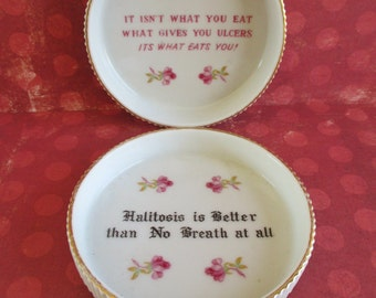 SALE Pair of Vintage Kitschy Humorous Coasters
