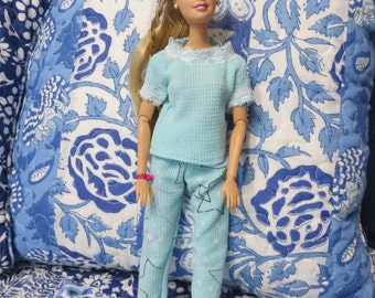 Barbie Doll clothes, Handmade Barbie Doll Clothes, Pajamas for Barbie, PJs, Blue