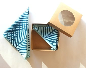 Teal and Light Blue Reusable Cloth Napkins - Tropical Print - Palm Leaf Design