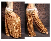 Tribal Harem Pants, cut out leg. Belly Dance Costume, Festival Fashion, Gypsy style, orange brown gold velvet pants, Boho baggy pants, hippy