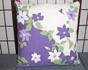 Clematis and Birds Design Zippered Japanese Furoshiki Pillow Cover Purple