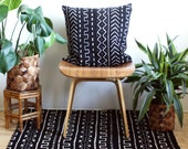 "Black African Mudcloth, 20 inch Pillow Cover, Black Mud Cloth, 20"" x 20"", Boho Decor, Black and White Pillow, Bogolan, Mudcloth Pillow"