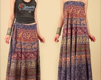 Indian Block Print Skirt ViNtAgE Cotton Maxi Wrap // India Block Print 70s // Bias Cut Hippie Bohemian Floral Festival Dress // Free Size