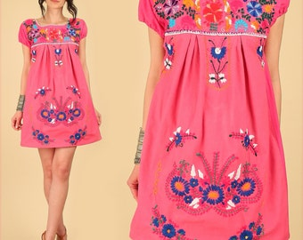 Mexican Dress Pink ViNtAgE 70's EMBROIDERED MiNi Tunic Floral Cotton Artisan Made HiPPiE Small