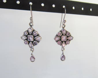 Vintage Sterling Silver Dangle Earrings with Bezel Set Light Amethyst Stones - 1541D