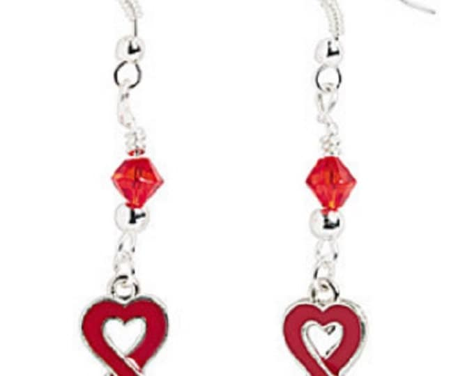 Heart-Shaped Red Ribbon Earrings