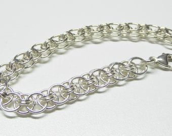 Sterling silver chain bracelet,925 sterling silver chainmail bracelet,silver chain link bracelet,helm weave bracelet,helm weave chain mail