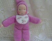 Pocket Doll, Waldorf Pocket Dolls,Waldorf Dolls,  Gnome Dolls,  Bunting Dolls, Small Dolls, 6 Inches,  Violet Pink