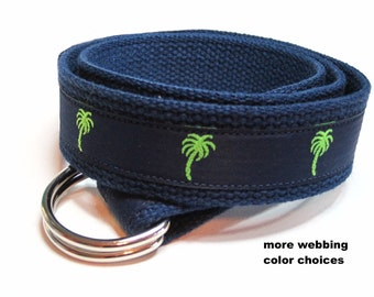 Palm Belt, Navy Blue  D Ring Belt, Preppy Canvas Belt for men boys Teens, Palm Tree Webbing Belt - Palmetto Palm