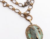 Cicada Necklace, Rust Verdigris Patina, OOAK Bug Necklace, Insect Jewelry, Entomologist Gift, Chinese New Year Jewelry, Feng Shui Jewelry