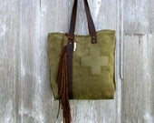 Olive Green Suede Leather Tote Bag with Swiss Army Cross and Distressed Leather Fringe by Stacy Leigh