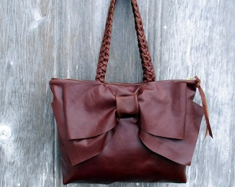 Leather Bow Bag in Distressed Chestnut Brown - Medium Size by Stacy Leigh