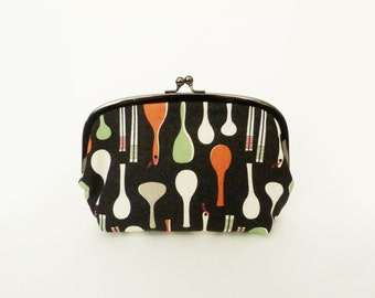 Cosmetic bag, Japanese utensils, cotton purse, gadget pouch