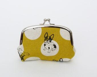 Coin purse, mustard yellow Boston Terrier fabric, cotton purse