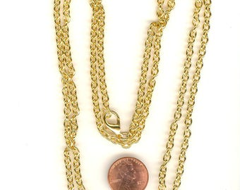 Vintage NOS Gold Tone Chain Link Necklace: 36 Inches Add Dangles GORGEOUS High Quality Ch256