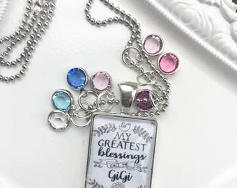 """My greatest blessings call me """"GIGI"""" necklace with birthstones of children Silver finish"""