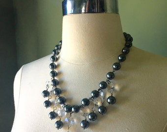 Beaded necklaces, pearl necklaces, statement necklaces, grey pearls,crystal pendant, wedding necklaces. bridal jewelry, FREE SHIPPING