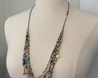Beaded necklace, multi strands necklace, colorful necklace, boho chic, long necklace, FREE SHIPPING