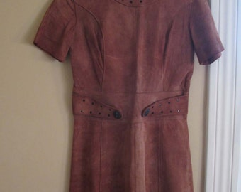 60s Brown suede dress Mod Leather mini dress Boar Buttons Brown leather Suede 60s vintage Mini Dress Boho Princess dress Short Sleeves S