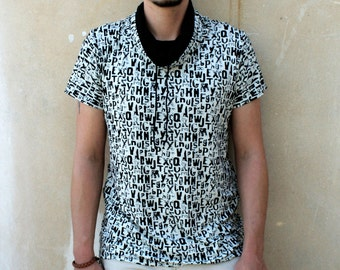 Agoraphobix Monochrome  Cowl Neck T shirt | Men | Type Letter Print