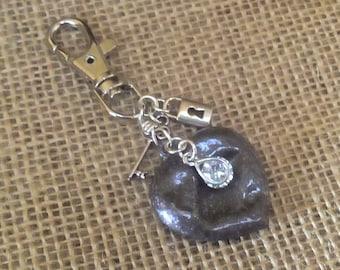 Purse Key Chain Charm Altered Art Hammered Heart Ln423, Lock & Key, Cubic Zirconia Crystal, Bronze, Swival Key Ring, Backpack charm, by Lynn