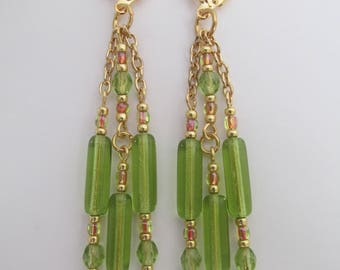 Chain Dangle Chandelier Earrings - Peridot