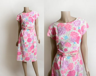 Vintage 1960 Floral Dress - Hot Pink Flower Print Bouquet Wiggle Dress with Matching Bow Belt - Spring Style - White and Lavender - Medium