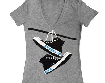 Converse - Womens Fitted Vneck Brooklyn New York NY NYC Shoes Retro Vintage Grey Triblend Track Chuck Taylor Girls T-shirt Tee Shirt Tshirt