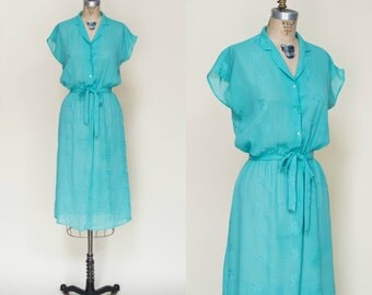 1970s Secretary Dress --- Vintage Turquoise Dress